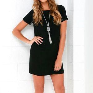Lulus Shift and Shout Black Shift Dress